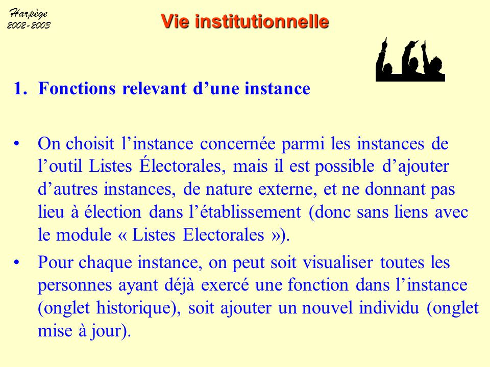 Vie institutionnelle Fonctions relevant d'une instance.