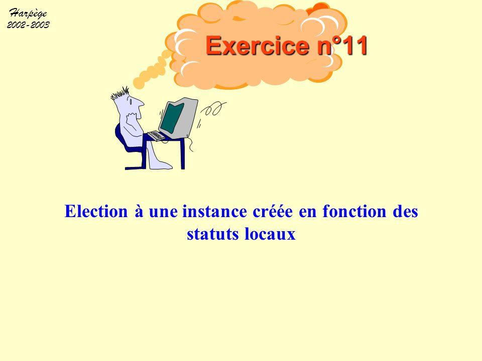 Election à une instance créée en fonction des statuts locaux