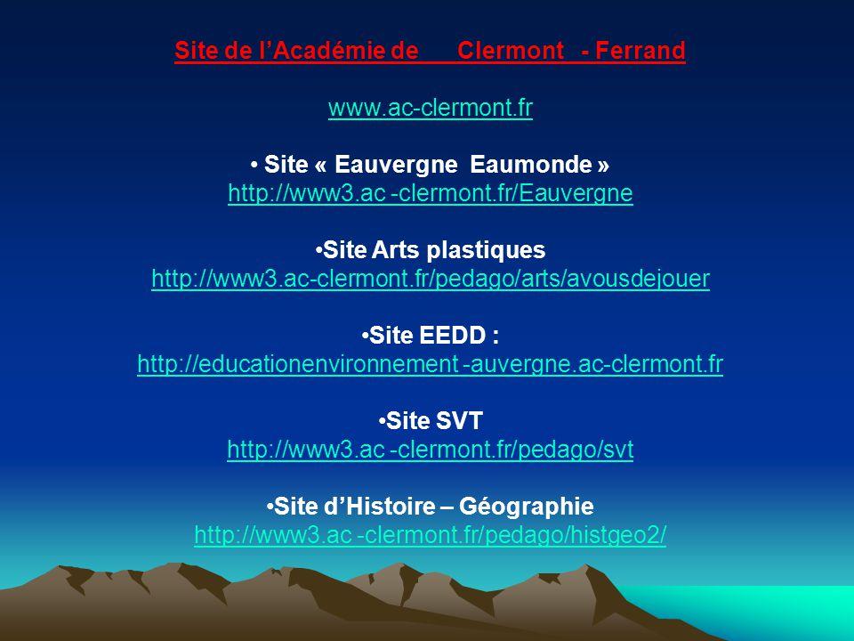 Site de l'Académie de Clermont - Ferrand Site d'Histoire – Géographie