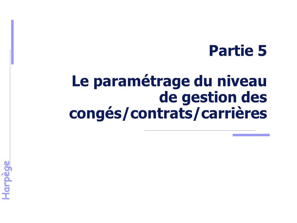 Partie 5 Le paramétrage du niveau de gestion des congés/contrats/carrières