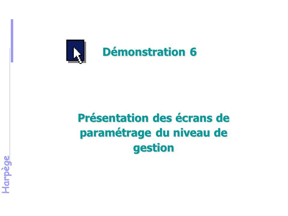 Présentation des écrans de paramétrage du niveau de gestion