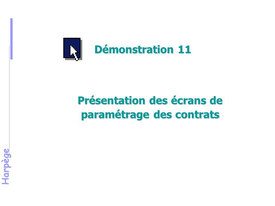 Présentation des écrans de paramétrage des contrats