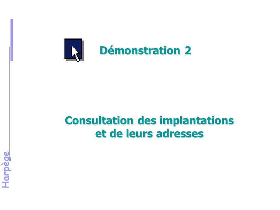 Consultation des implantations et de leurs adresses