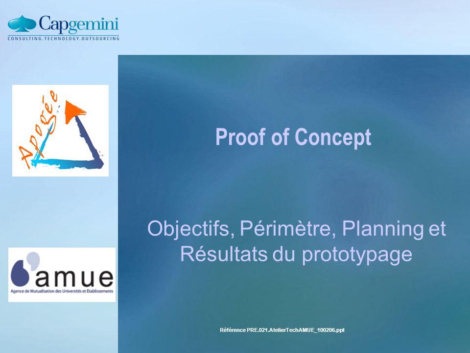 Objectifs, Périmètre, Planning et Résultats du prototypage
