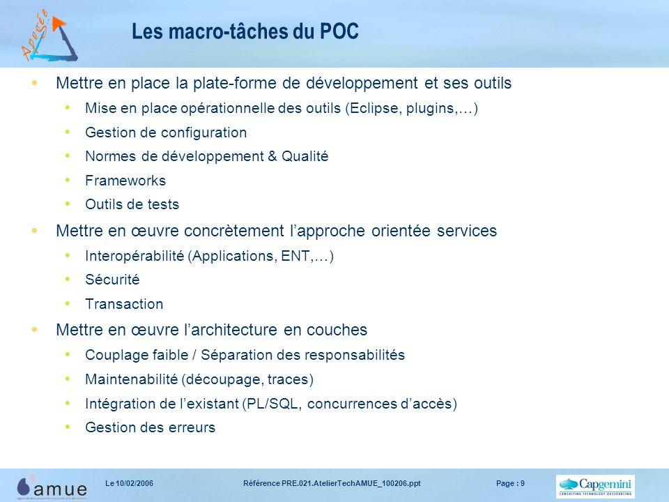 Les macro-tâches du POC