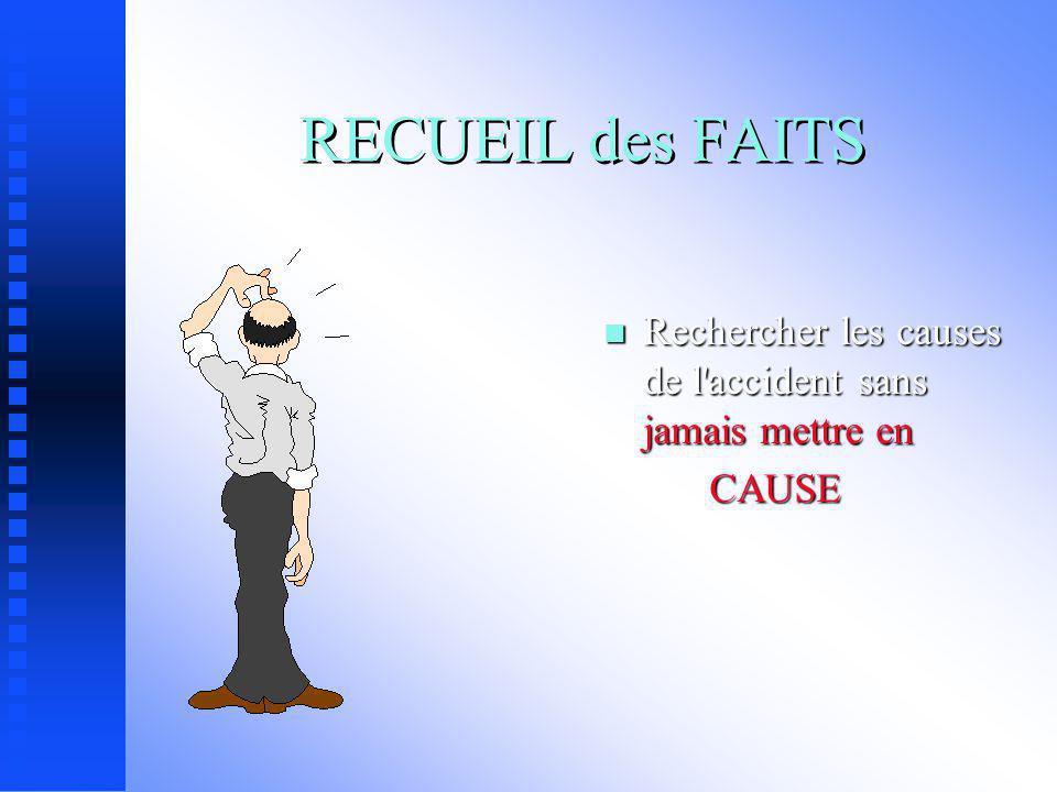 RECUEIL des FAITS Rechercher les causes de l accident sans jamais mettre en CAUSE