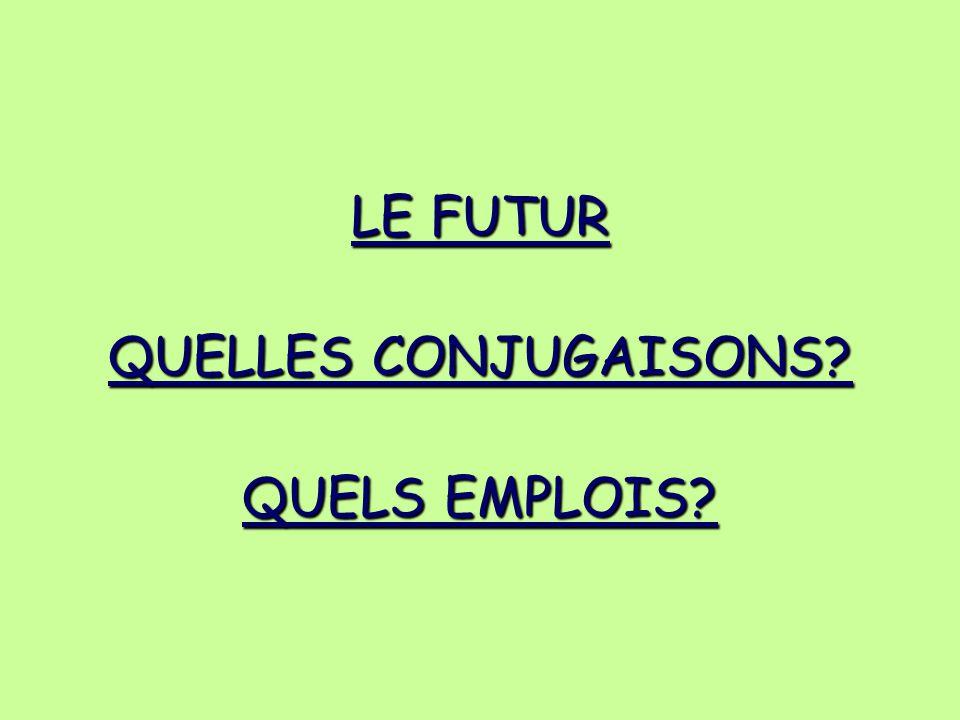 LE FUTUR QUELLES CONJUGAISONS QUELS EMPLOIS