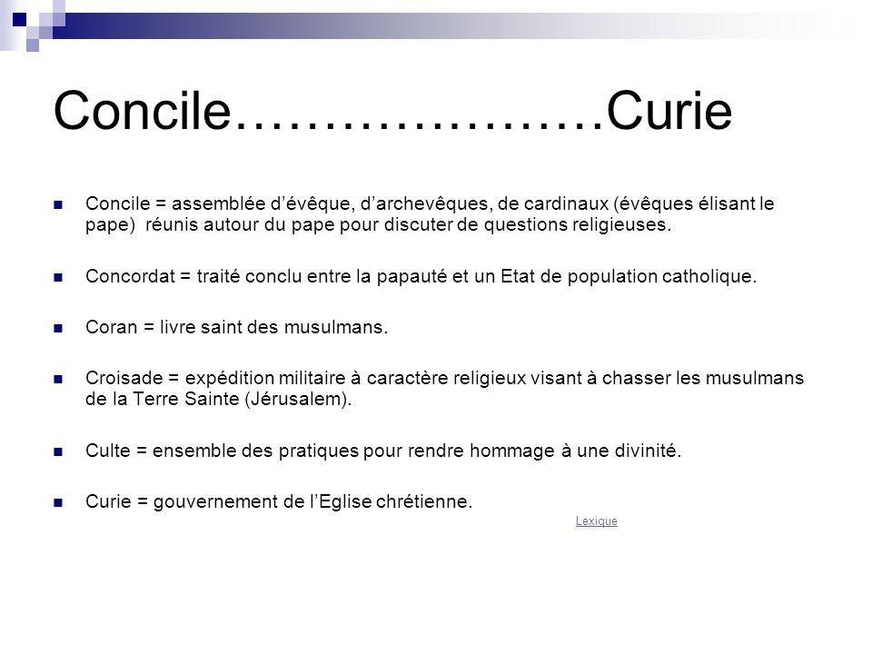 Concile…………………Curie