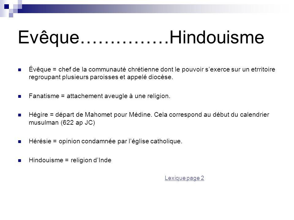 Evêque……………Hindouisme