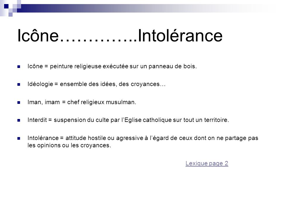Icône…………..Intolérance