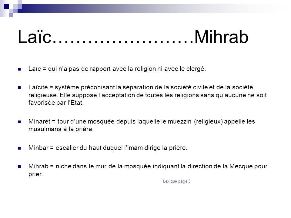Laïc……………………Mihrab Laïc = qui n'a pas de rapport avec la religion ni avec le clergé.