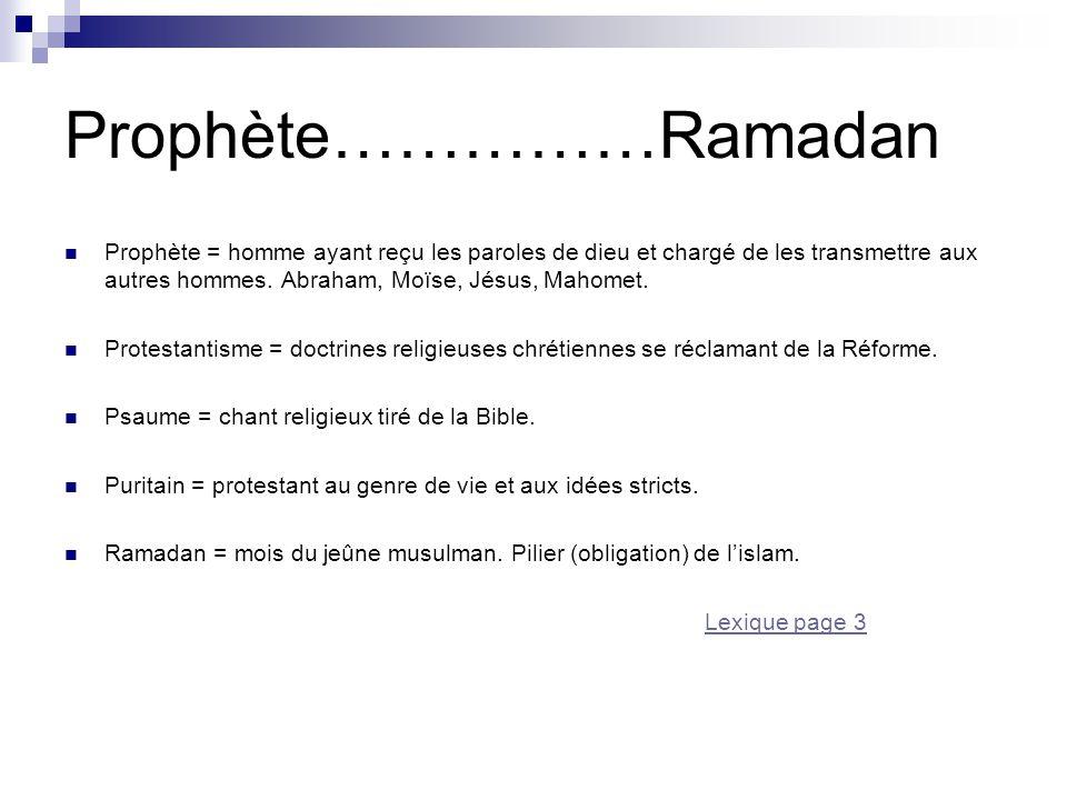 Prophète……………Ramadan