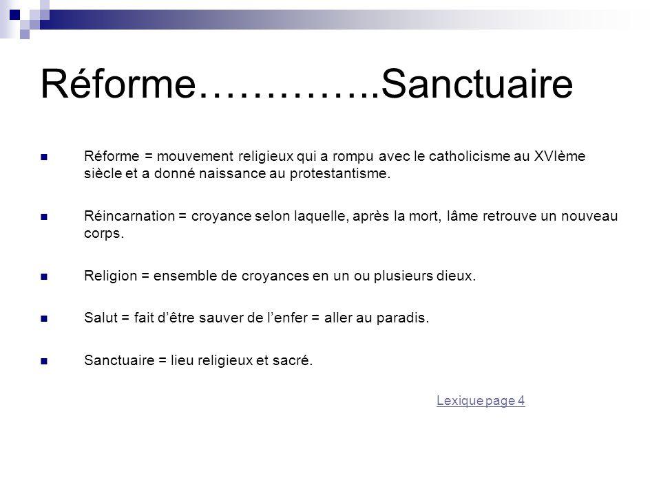 Réforme…………..Sanctuaire