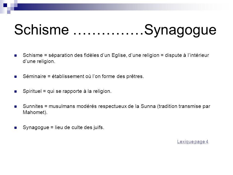 Schisme ……………Synagogue