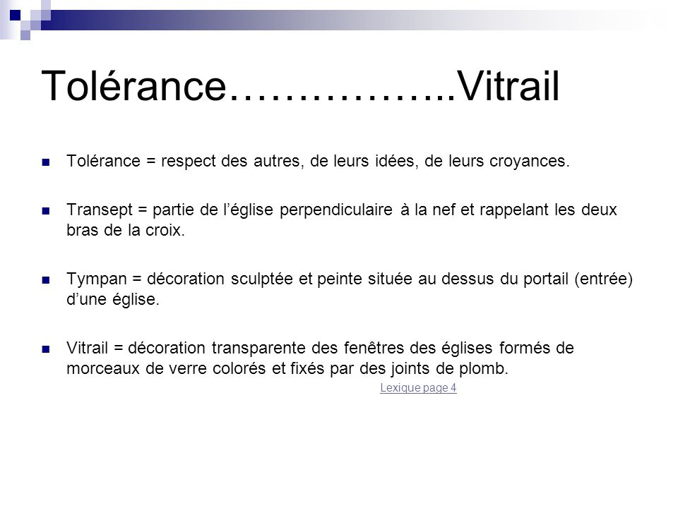 Tolérance……………..Vitrail
