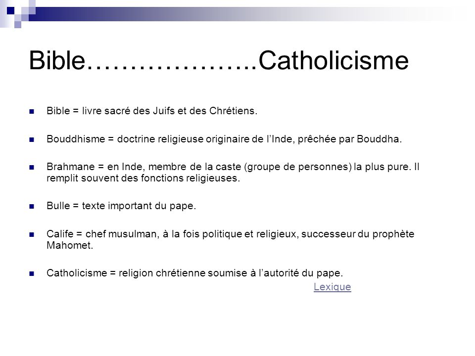 Bible………………..Catholicisme