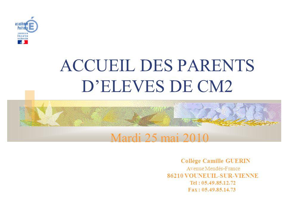 ACCUEIL DES PARENTS D'ELEVES DE CM2