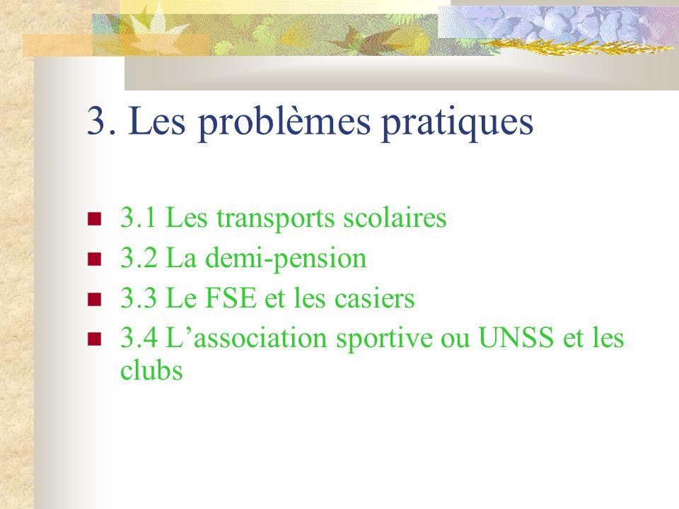 3. Les problèmes pratiques