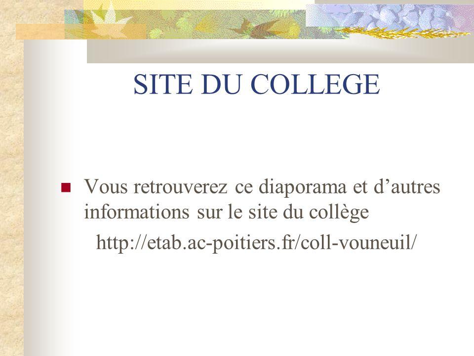 SITE DU COLLEGE Vous retrouverez ce diaporama et d'autres informations sur le site du collège.