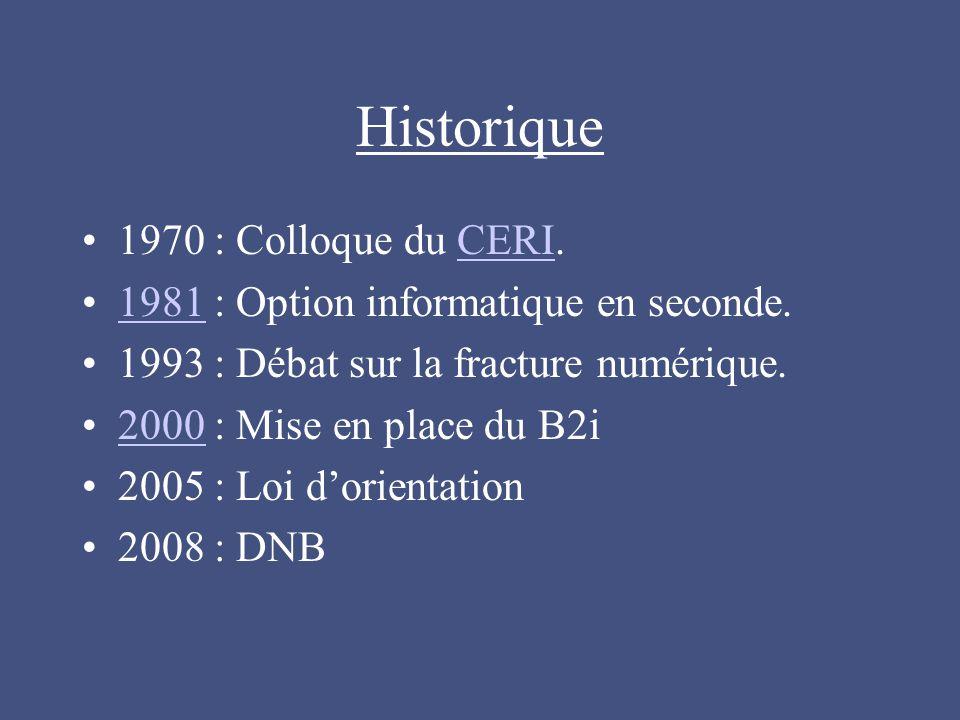 Historique 1970 : Colloque du CERI.