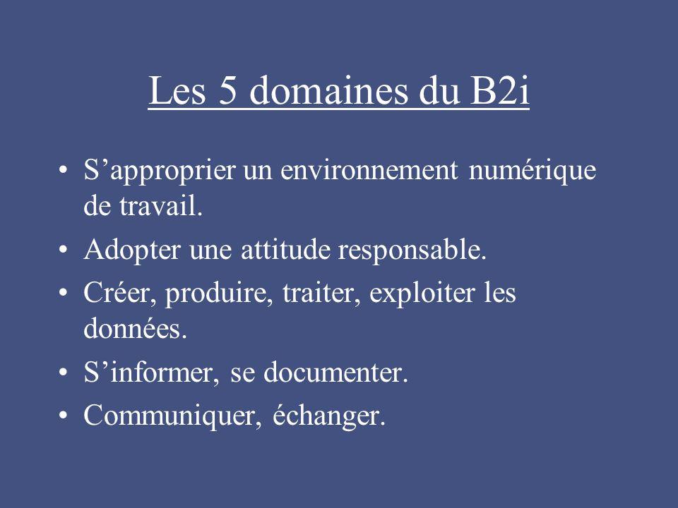 Les 5 domaines du B2i S'approprier un environnement numérique de travail. Adopter une attitude responsable.