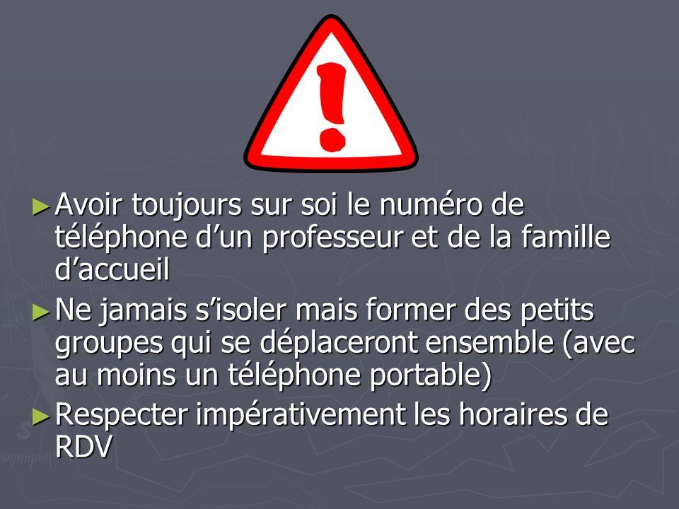 Avoir toujours sur soi le numéro de téléphone d'un professeur et de la famille d'accueil
