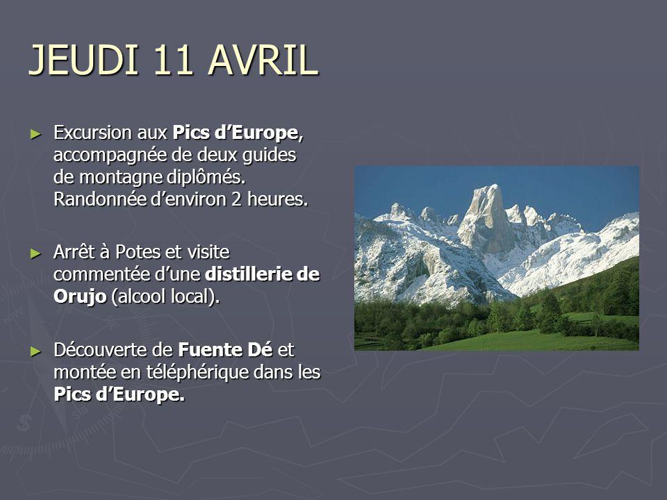 JEUDI 11 AVRIL Excursion aux Pics d'Europe, accompagnée de deux guides de montagne diplômés. Randonnée d'environ 2 heures.
