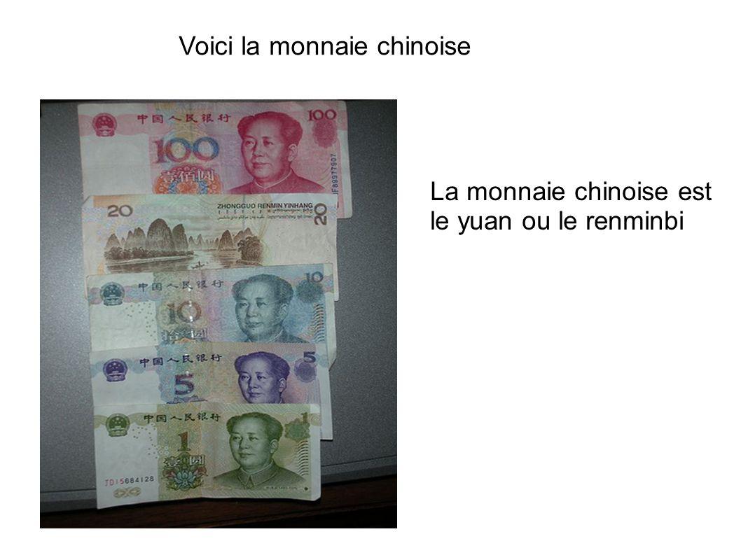 Voici la monnaie chinoise