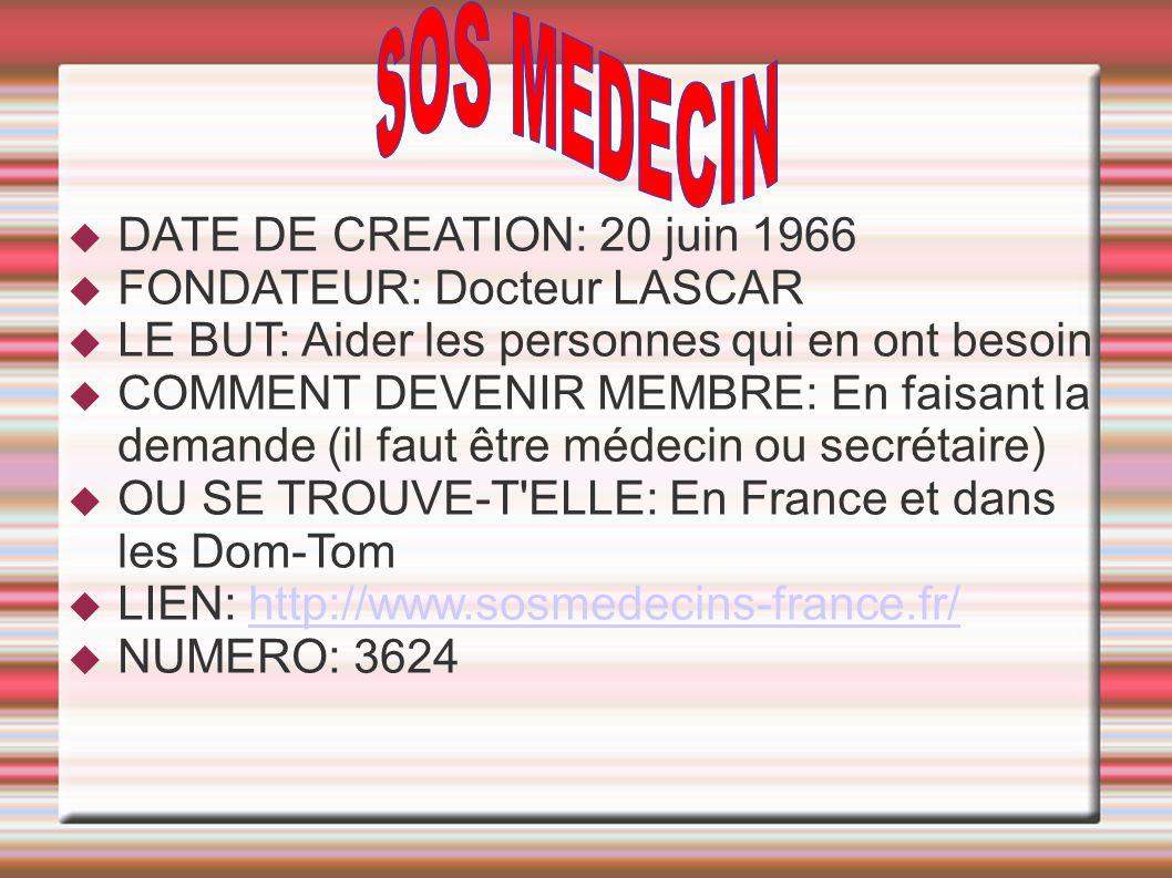 SOS MEDECIN DATE DE CREATION: 20 juin 1966 FONDATEUR: Docteur LASCAR