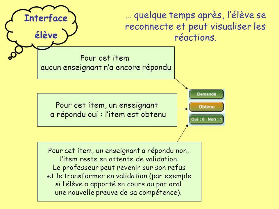 … quelque temps après, l'élève se reconnecte et peut visualiser les réactions.