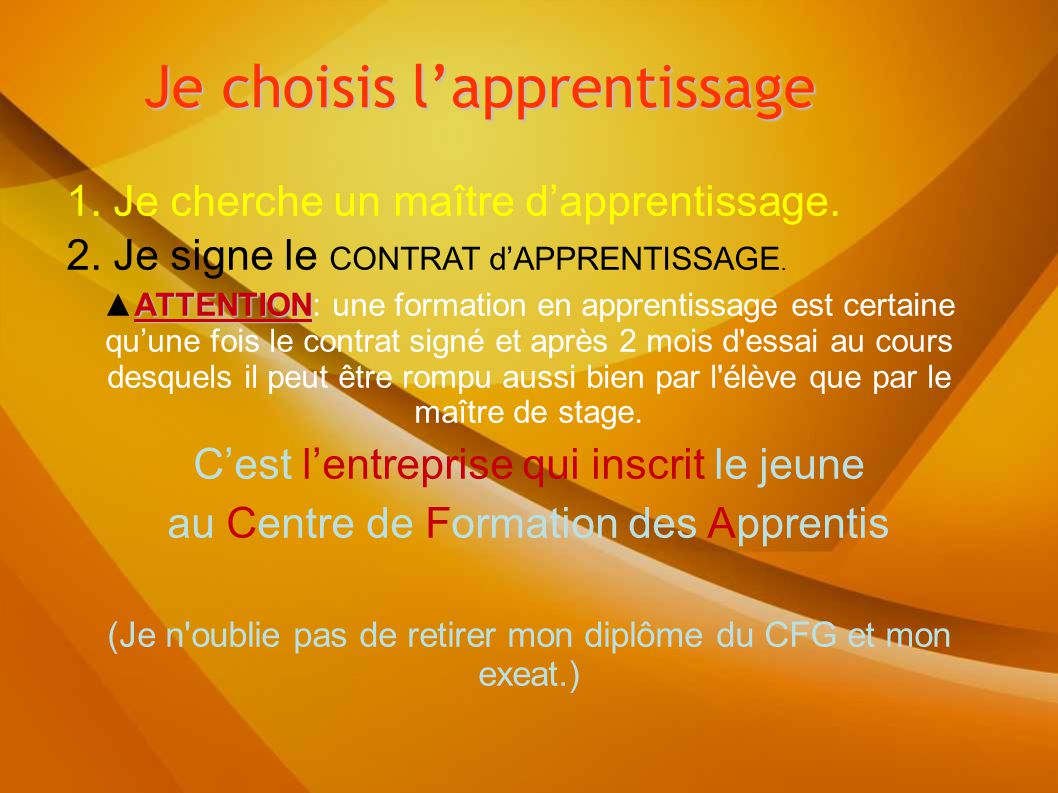 Je choisis l'apprentissage