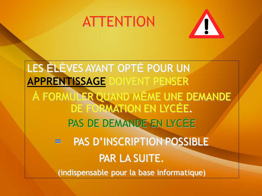 ATTENTION = PAS D'INSCRIPTION POSSIBLE