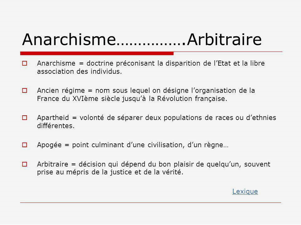 Anarchisme…………….Arbitraire