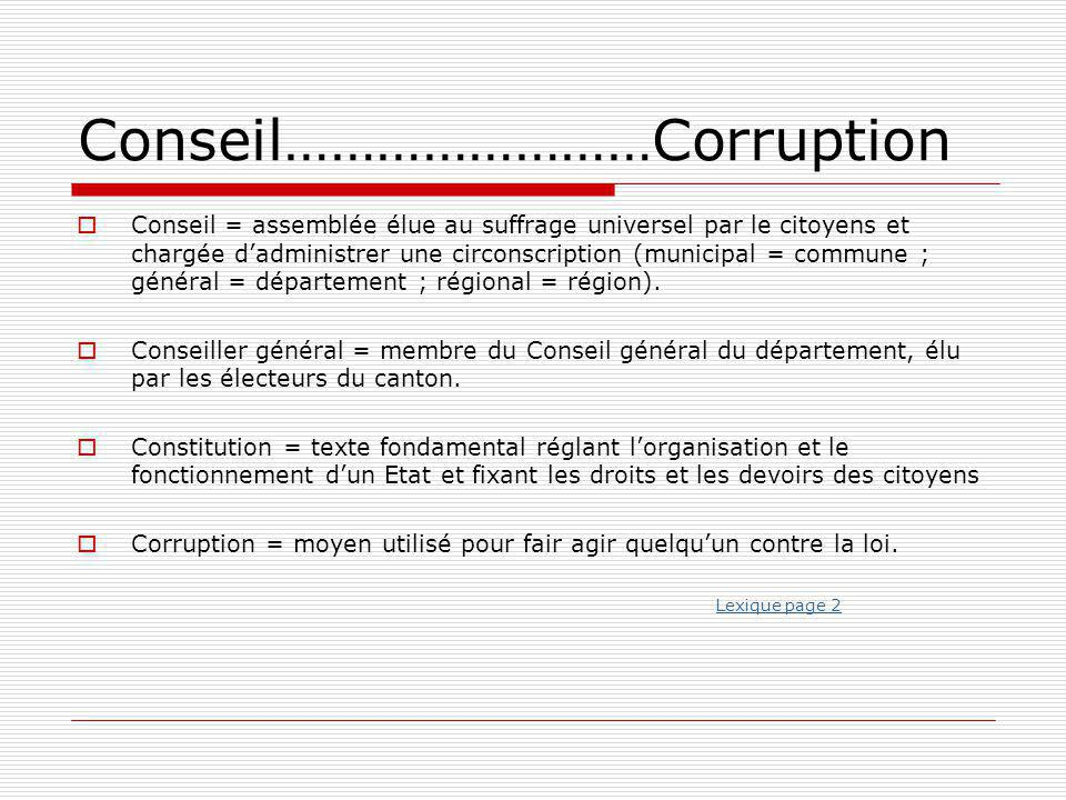 Conseil……………………Corruption
