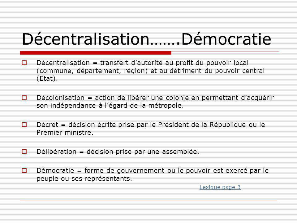 Décentralisation…….Démocratie