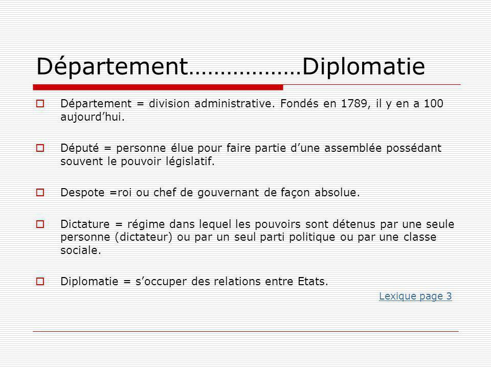 Département………………Diplomatie