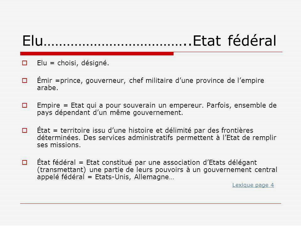 Elu………………………………..Etat fédéral