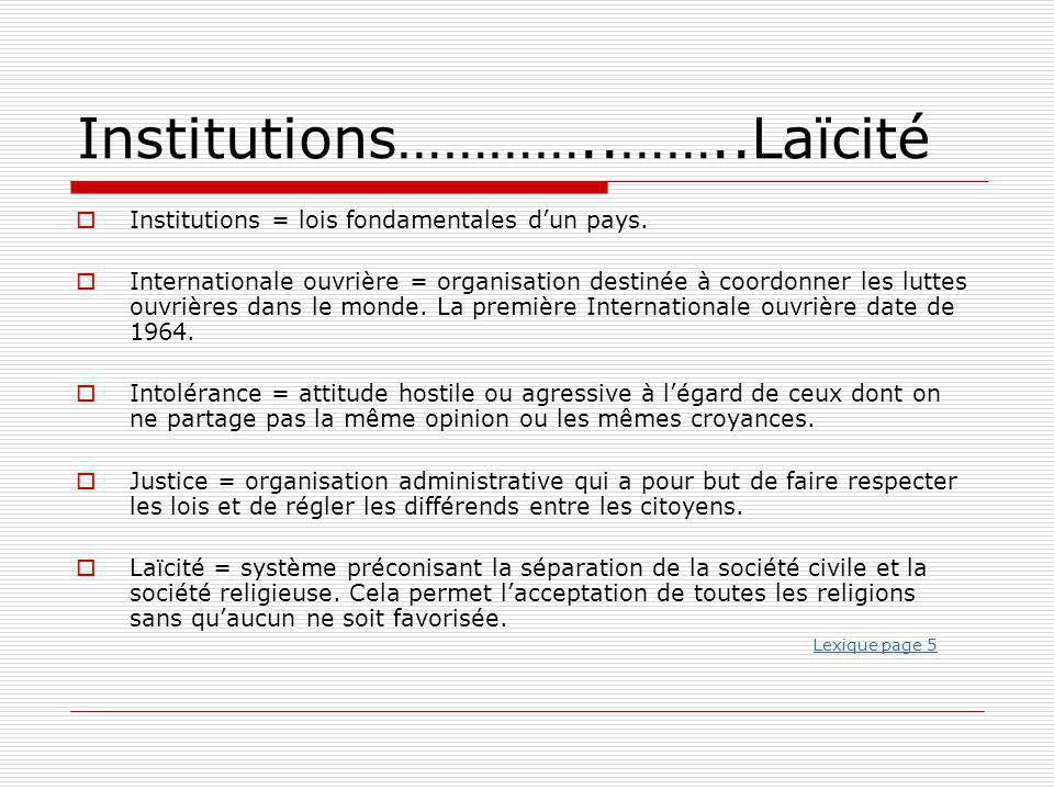Institutions…………..……..Laïcité