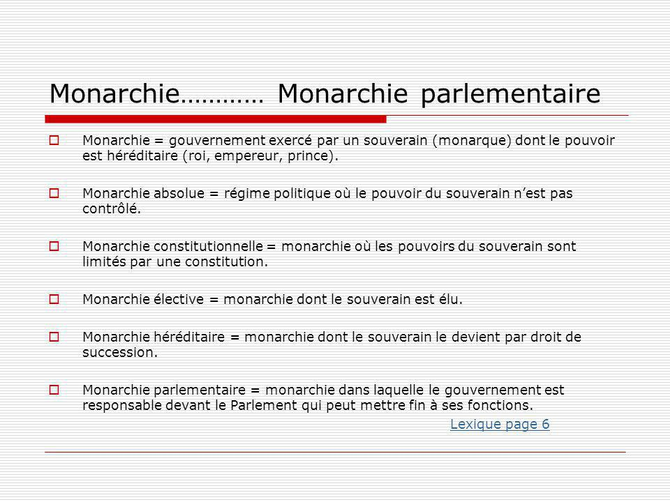 Monarchie………… Monarchie parlementaire