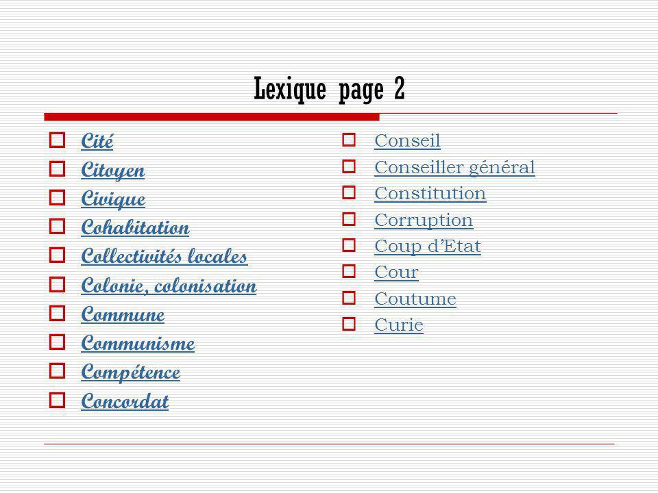 Lexique page 2 Cité Citoyen Civique Cohabitation Collectivités locales