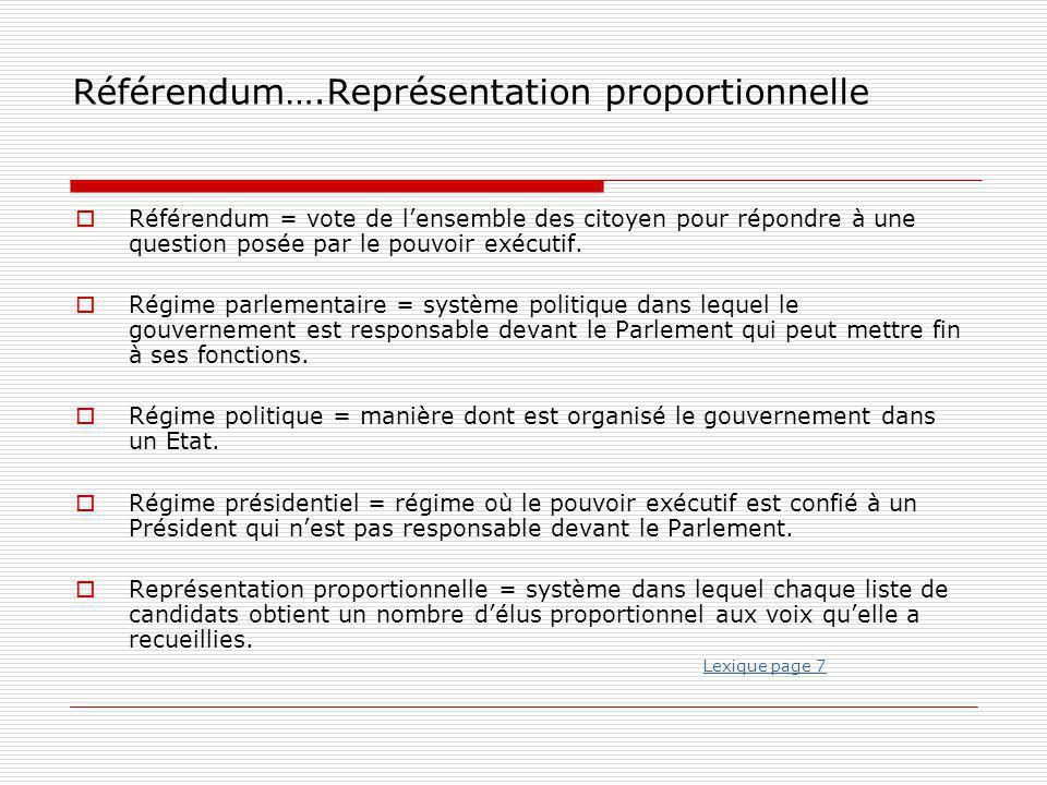 Référendum….Représentation proportionnelle
