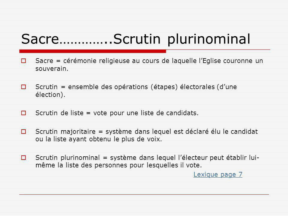 Sacre…………..Scrutin plurinominal