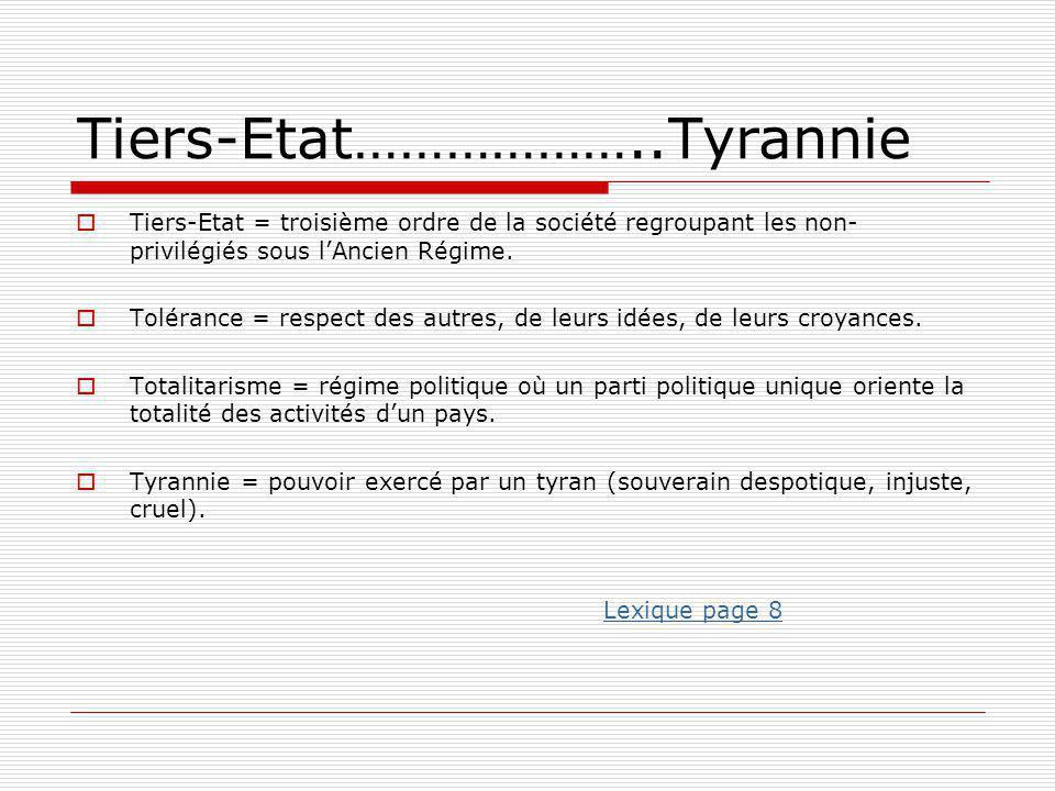 Tiers-Etat………………..Tyrannie