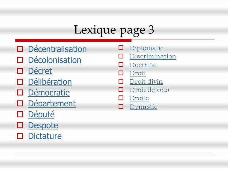 Lexique page 3 Décentralisation Décolonisation Décret Délibération