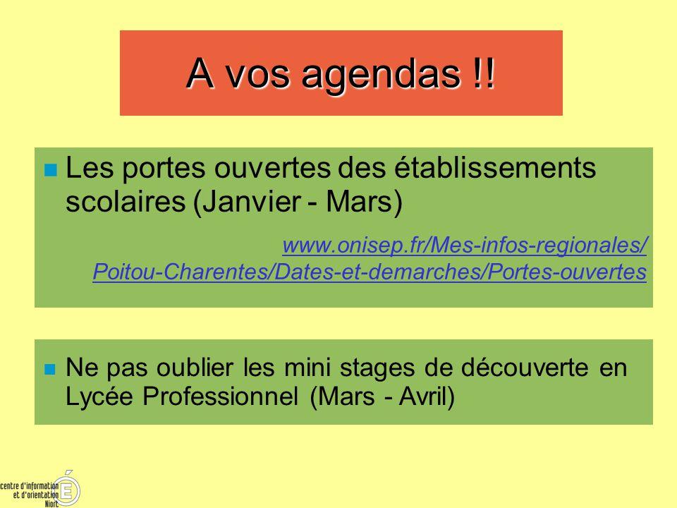 A vos agendas !! Les portes ouvertes des établissements scolaires (Janvier - Mars)