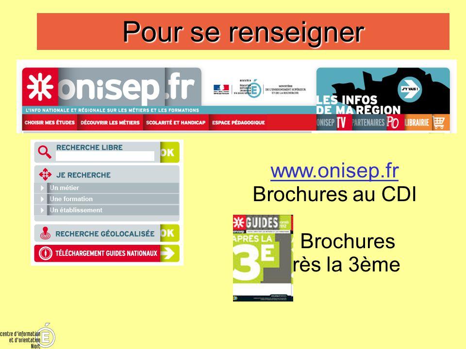 Pour se renseigner www.onisep.fr Brochures au CDI