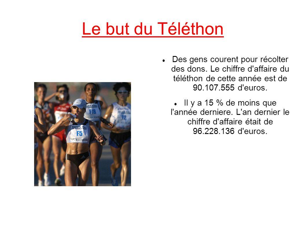 Le but du Téléthon Des gens courent pour récolter des dons. Le chiffre d affaire du téléthon de cette année est de 90.107.555 d euros.