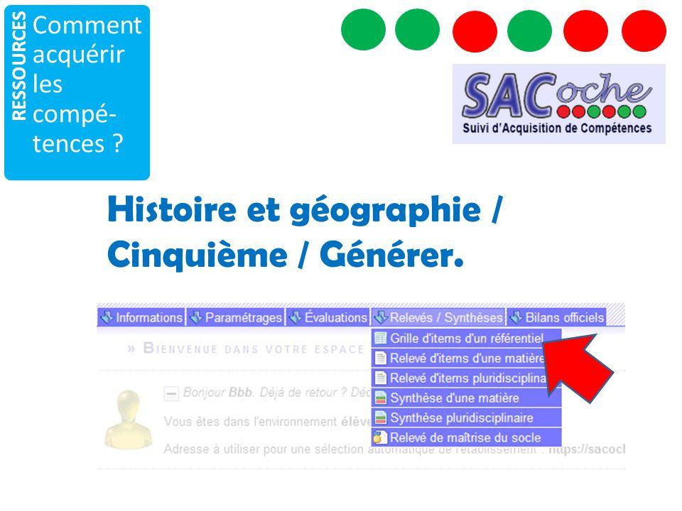 Histoire et géographie / Cinquième / Générer.