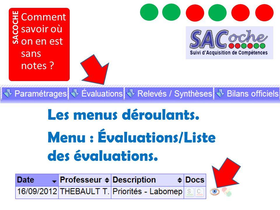 Menu : Évaluations/Liste des évaluations.