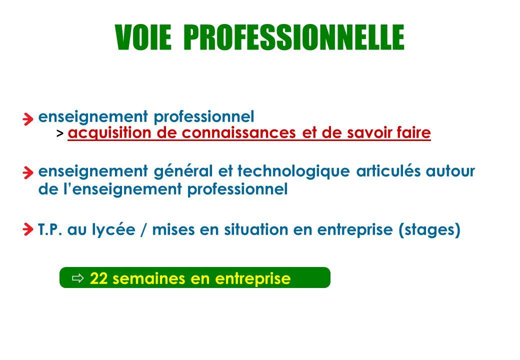VOIE PROFESSIONNELLE enseignement professionnel
